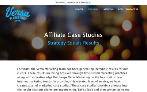 Screenshot of Case Studies Page versamarketinginc.com - Online Marketing Case Studies | Internet Marketing Agency Versa Marketing Inc. - captured Nov. 18, 2016