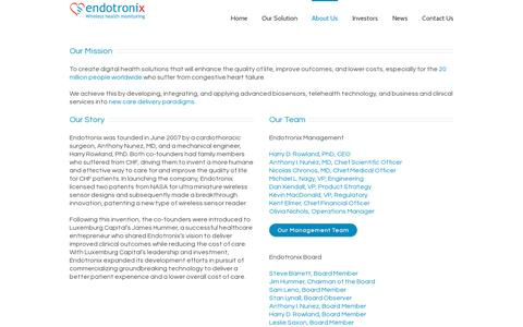 Screenshot of About Page endotronix.com - Endotronix Wireless Health Monitoring for Heart Failure Management   –  About Us - captured July 19, 2014