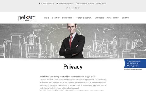 Screenshot of Privacy Page netkomgroup.it - Netkom Group | Web Design Marketing Agency Modena - captured Sept. 20, 2018