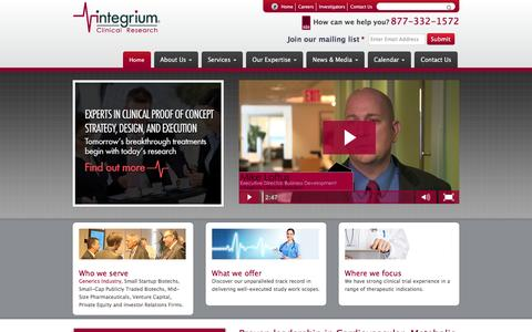 Screenshot of Home Page integrium.com - Integrium Clinical Research | Proven leadership in cardiovascular, metabolic disease and dermatology trials | Los Angeles, Tustin, San Diego - captured Jan. 8, 2016