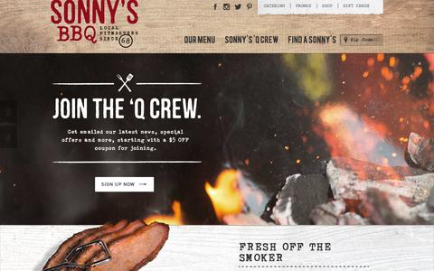Screenshot of Home Page sonnysbbq.com - Sonny's BBQ | Barbecue Restaurant & Catering - captured Feb. 19, 2016