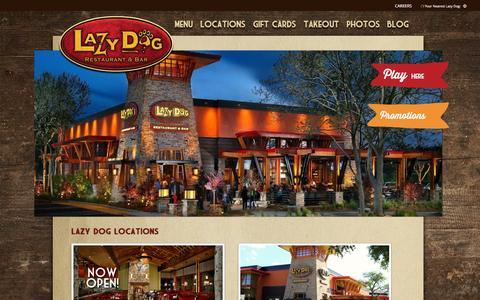 Screenshot of Locations Page lazydogrestaurants.com - Lazy Dog Restaurant & Bar | Find a Location - captured Jan. 27, 2016