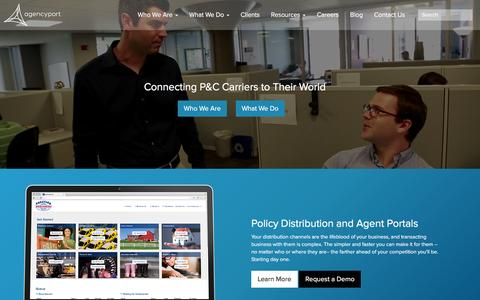 Screenshot of Home Page agencyport.com - Agencyport Software - captured Feb. 5, 2016