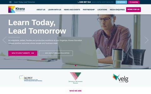 Screenshot of Home Page kirana.edu.au - Learn Today, Lead Tomorrow - Kirana Education - captured June 9, 2017