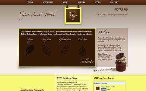 Screenshot of Home Page vegansweettooth.com - Vegan Sweet Tooth | Cleveland, Ohio - captured Sept. 26, 2014