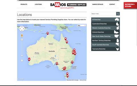 Screenshot of Locations Page samios.net.au - Samios Plumbing Supplies | Locations - captured Oct. 4, 2014