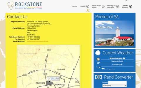 Screenshot of Contact Page executiverelocation.co.za - Contact Rockstone Executive Relocation Services - captured Oct. 1, 2014