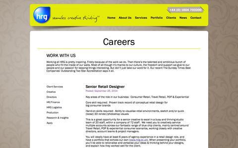 Screenshot of Jobs Page hrg.co.uk - HRG Careers » HRG - captured Oct. 1, 2014