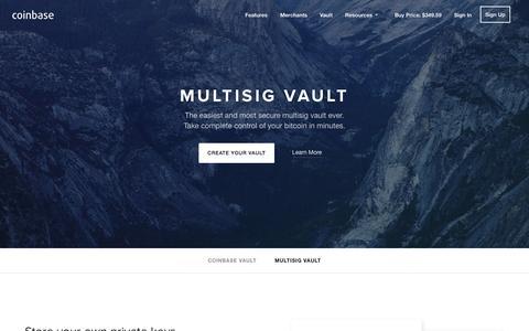 Screenshot of coinbase.com - Multisig Vault - Coinbase - captured Dec. 13, 2014