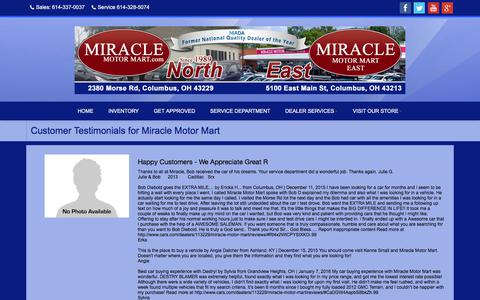 Screenshot of Testimonials Page miraclemotormart.com - Testimonials at Miracle Motor Mart, Columbus, OH, 614-337-0037 - captured June 12, 2017