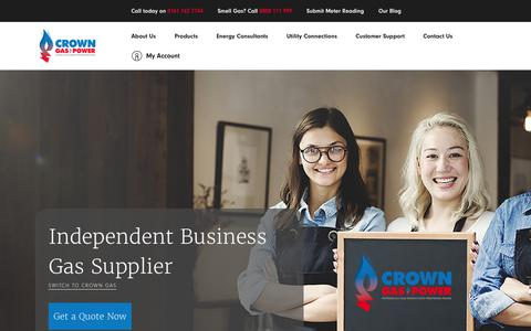 Screenshot of Home Page crowngas.co.uk - Crown Gas & Power: Independent Business Gas Supplier - captured Nov. 11, 2018