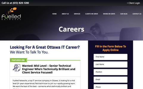 Screenshot of Jobs Page fuellednetworks.com - Careers - Fuelled Networks - captured Oct. 26, 2016