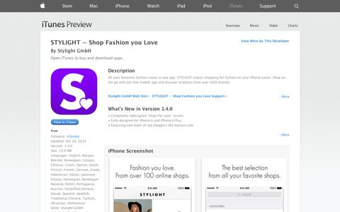 Screenshot of iOS App Page apple.com - STYLIGHT − Shop Fashion you Love on the App Store on iTunes - captured Oct. 31, 2014