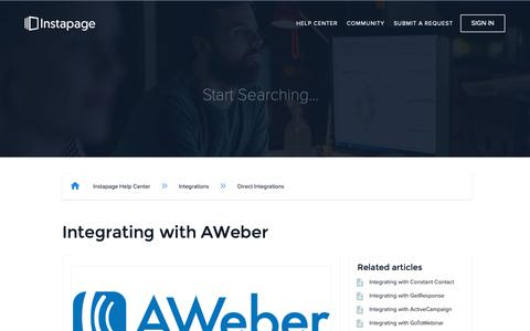 Screenshot of Support Page instapage.com - Integrating with AWeber – Instapage Help Center - captured Nov. 9, 2018