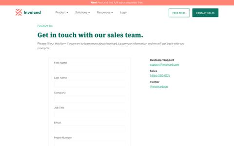 Screenshot of Contact Page invoiced.com - Invoiced   Contact Us - captured Aug. 16, 2018