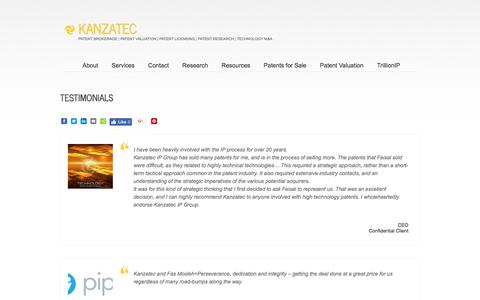 Screenshot of Testimonials Page kanzatec.com - Testimonials - KANZATECKANZATEC - captured Sept. 20, 2018