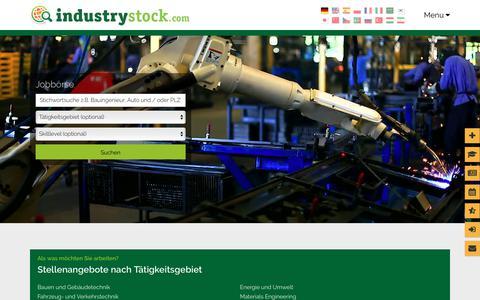 Screenshot of Jobs Page industrystock.de - Jobangebote – Wir freuen uns auf Ihre Bewerbung - captured Sept. 22, 2018