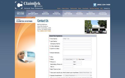 Screenshot of Contact Page claimtek.com - A Comprehensive Medical Billing Business Program - ClaimTek Contact Us page - captured Jan. 28, 2016