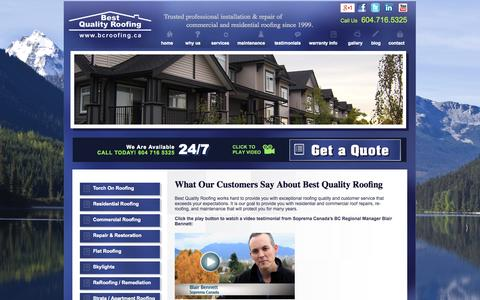 Screenshot of Testimonials Page bcroofing.ca - Testimonials | Best Quality Roofing - captured Oct. 5, 2014