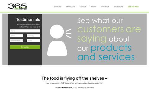 Screenshot of Testimonials Page 365retailmarkets.com - Testimonials - 365 Retail Markets - captured Feb. 18, 2016