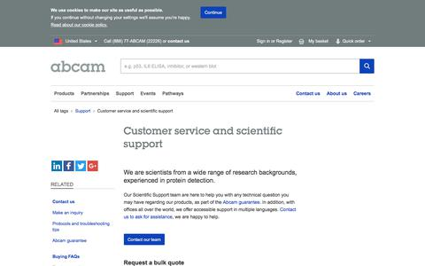 Screenshot of Support Page abcam.com - Contact customer service or our scientific support teams | Abcam - captured April 2, 2018