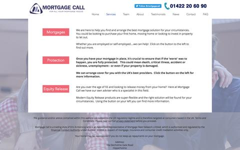 Screenshot of Services Page mortgagecall.co.uk - mortgagecall   Services - captured May 11, 2017
