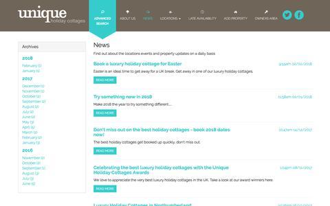 Screenshot of Press Page uniqueholidaycottages.co.uk - Unique Holiday Cottages - captured Sept. 20, 2018