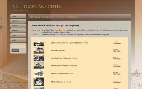 Screenshot of Home Page stuttgart-ansichten.de - Home | Leinwandbilder Stuttgart artagens Galerie für Leinwanddruck - captured Sept. 19, 2014