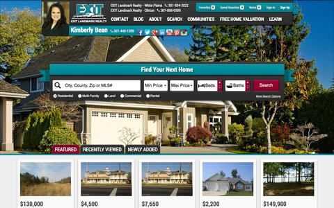 Screenshot of Home Page kimberlybean.com - Southern Maryland Real Estate and Homes for Sale - captured Oct. 11, 2015