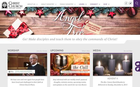 Screenshot of Home Page christchurchplano.org - Christ Church | Plano, TX | Anglican - captured Dec. 8, 2015
