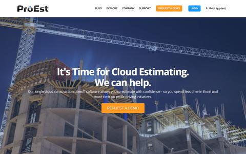 Screenshot of Home Page proest.com - Construction Estimating Software | Takeoff Software | ProEst - captured Oct. 19, 2019
