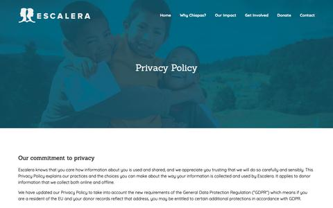 Screenshot of Privacy Page escalera.org - Privacy Policy – Escalera Foundation - captured Dec. 8, 2018