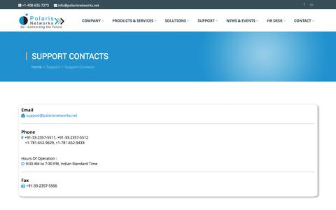 Screenshot of Support Page polarisnetworks.net - Support Contacts - Polaris Networks - captured July 20, 2018