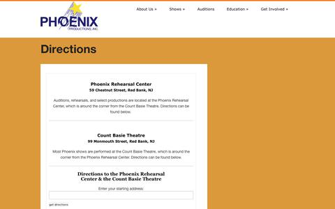 Screenshot of Maps & Directions Page phoenixredbank.com - Phoenix Productions Inc. » Directions - captured July 30, 2017