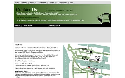 Screenshot of Contact Page Maps & Directions Page docklandssolicitors.com - Docklands Solicitors - Canary Wharf - captured Oct. 23, 2014