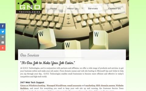 Screenshot of Services Page gnotechnologies.com - GNO Technologies : Services - captured Oct. 16, 2016