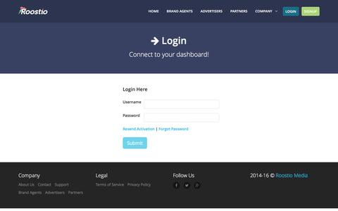 Screenshot of Login Page roostio.com - Roostio | Crowdsource Transit Advertising Marketplace for Small Businesses - captured Feb. 27, 2016