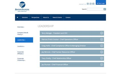 Screenshot of Team Page bfds.com - Boston Financial Data Services | Leadership - captured June 14, 2016