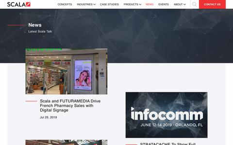 Screenshot of Press Page scala.com - Digital Signage Industry News & Press Releases | Scala - captured Oct. 13, 2019