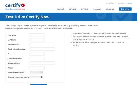 Screenshot of Trial Page certify.com - Certify Free Expense Management Trial - Certify Test Drive - captured June 17, 2015