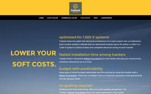 Screenshot of Developers Page trabantsolar.com - Trabant Solar - captured Aug. 16, 2016