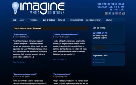 Screenshot of Testimonials Page imaginemediasolutions.com - Testimonials Archives - Imagine Media Solutions   Website Design and Media Specialists! - captured Sept. 30, 2014