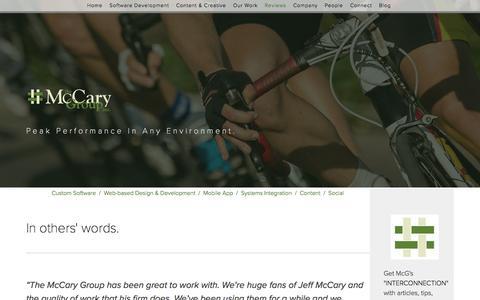 Screenshot of Testimonials Page mccarygroup.com - Reviews — The McCary Group - captured Nov. 28, 2016