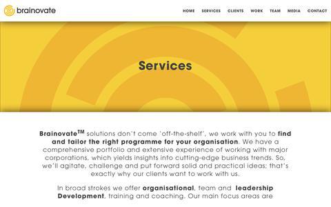Screenshot of Services Page brainovate.com - Services – Brainovate - captured Aug. 5, 2018