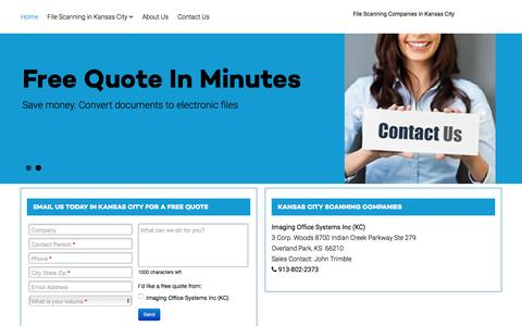 Screenshot of Home Page documentscanning-kansas-city.com - Kansas City area scanning companies - Kansas City Document Scanning Companies - captured Feb. 12, 2016