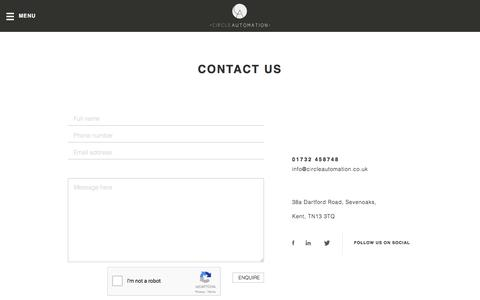 Screenshot of Contact Page circleautomation.co.uk - Contact us – Circle Automation - captured July 13, 2016