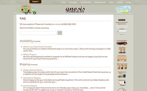 Screenshot of FAQ Page gnosischocolate.com - Raw Chocolate by Gnosis Chocolate - FAQ - captured Sept. 19, 2014