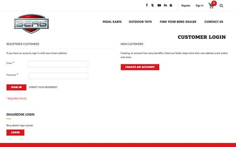Screenshot of Login Page bergtoys.com - Customer Login - captured Jan. 1, 2018