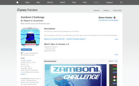 Screenshot of iOS App Page apple.com - Zamboni Challenge on the App Store on iTunes - captured Oct. 22, 2014