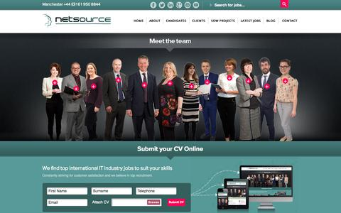 Screenshot of Home Page netsource.co.uk - IT Recruitment Agency London | Recruitment Consultants Manchester - captured Sept. 30, 2014
